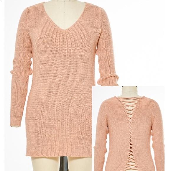 4e19aea9023 California Moonrise Sweaters   Nwt Lace Up Back Tunic Sweater   Poshmark